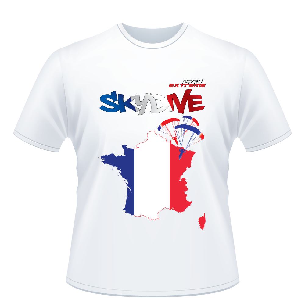 Skydiving T-shirts - Skydive All World - FRANCE - Unisex Tee -, Shirts, Skydiving Apparel, Skydiving Apparel, Skydiving Apparel, Skydiving Gear, Olympics, T-Shirts, Skydive Chicago, Skydive City, Skydive Perris, Drop Zone Apparel, USPA, united states parachute association, Freefly, BASE, World Record,