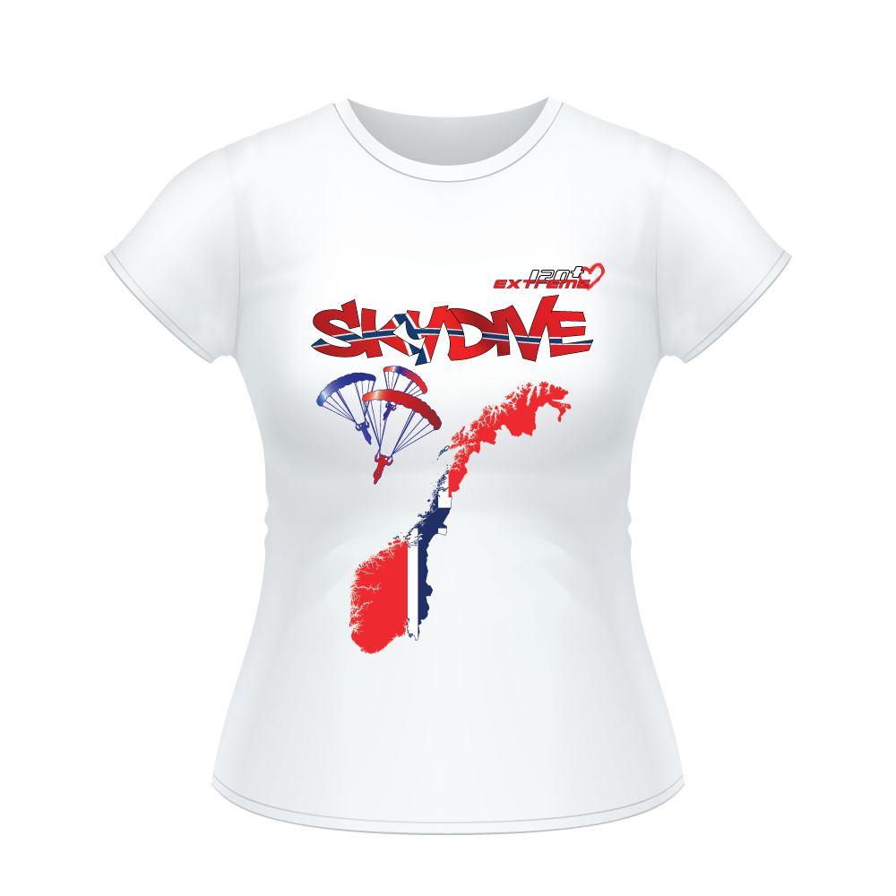 Skydiving T-shirts - Skydive All World - NORWAY - Ladies' Tee -, Shirts, Skydiving Apparel, Skydiving Apparel, Skydiving Apparel, Skydiving Gear, Olympics, T-Shirts, Skydive Chicago, Skydive City, Skydive Perris, Drop Zone Apparel, USPA, united states parachute association, Freefly, BASE, World Record,