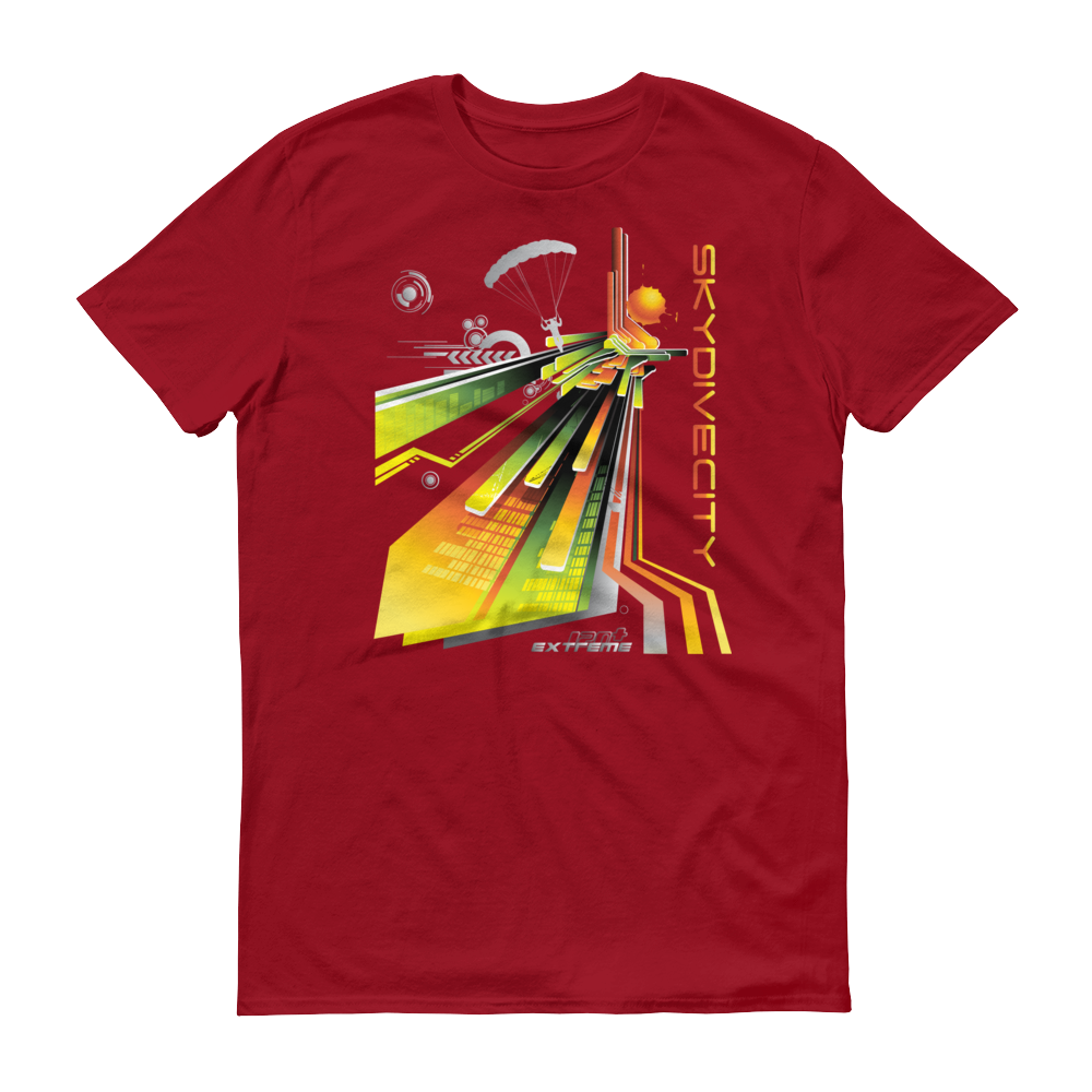 Skydiving T-shirts Skydive City - Sunrise - Men`s Colored T-Shirts, Men's Colored Tees, Skydiving Apparel, Skydiving Apparel, Skydiving Apparel, Skydiving Gear, Olympics, T-Shirts, Skydive Chicago, Skydive City, Skydive Perris, Drop Zone Apparel, USPA, united states parachute association, Freefly, BASE, World Record,