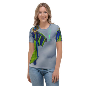 Skydiving T-shirts - Tony Suits - Bite Me - Women's Tee -, Women's All-Over, Skydiving Apparel, Skydiving Apparel, Skydiving Apparel, Skydiving Gear, Olympics, T-Shirts, Skydive Chicago, Skydive City, Skydive Perris, Drop Zone Apparel, USPA, united states parachute association, Freefly, BASE, World Record,