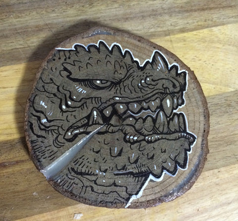 "TINY KAIJU- ORIGINAL ILLUSTRATION ON WOOD SLICE- ""GRUMPS""- GLOWS!"