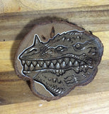 "TINY KAIJU- ORIGINAL ILLUSTRATION ON WOOD SLICE- ""TOOTHY""- GLOWS!"
