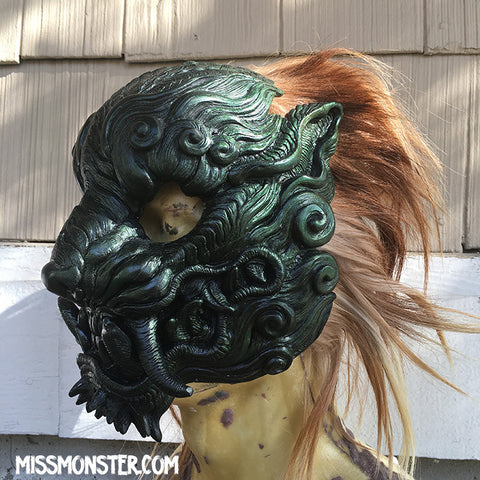 CAST URETHANE SENTINEL MASK - GREEN COLOR CHANGE WITH GOAT HAIR MANE