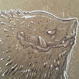 BALLPOINT PEN DRAWINGS ON KRAFT BOARD
