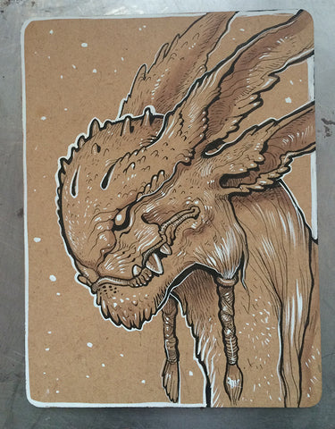 CREATURE INK DRAWING- BUNNY MONSTER