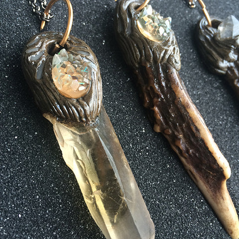 ANTLER AND QUARTZ PENDANTS