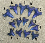 CAST URETHANE SHARK TOOTH PENDANT- DEEP OCEAN BLUE