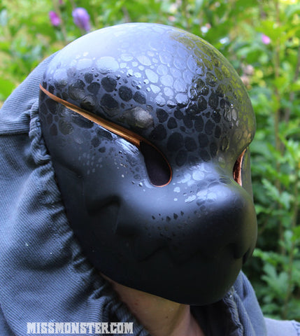 "CHOMPY ""BLACK SNAKE""- PAINTED, READY TO WEAR LIMITED EDITION MASK"