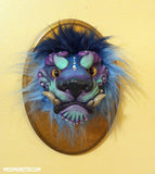 WALL MOUNTED TAXIDERMY FOO DOG BUST - RED OR BLUE