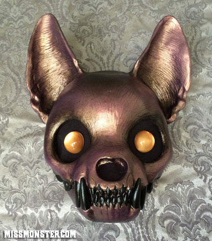 PAINTED , READY TO WEAR CAT MASK- METALLIC FLESH