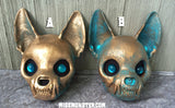 PAINTED , READY TO WEAR CAT MASK- COPPER PATINA