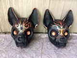CAT SKULL MASK PAINTED- READY TO WEAR