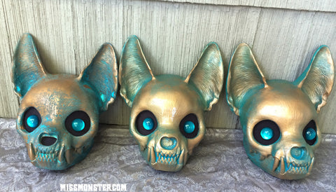 CAT MASK FINISHED, READY TO SHIP- COPPER PATINA