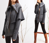 LAYERED COTTON FLEECE PONCHO JACKET