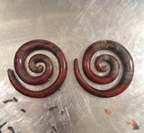 2 GAUGE STONE SPIRAL EARRINGS