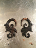 WOOD CARVED ORNATE 2G EARRINGS