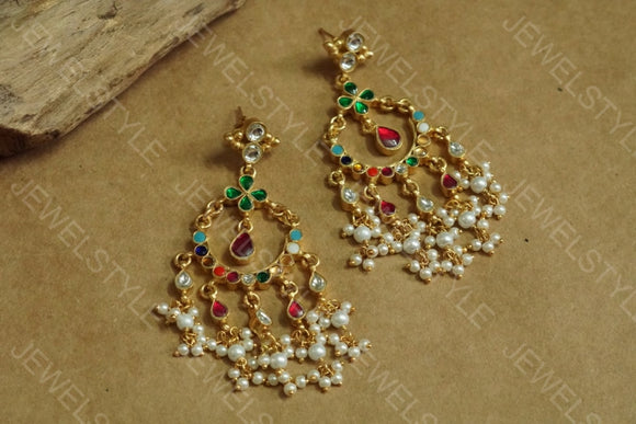 Multicolour Kundan earrings