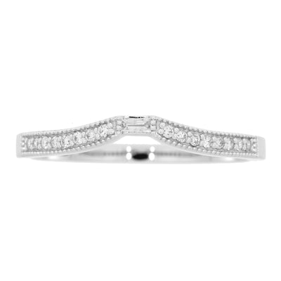 1/8 0.12 Carat Diamond Stackable 14K White Gold Baguette Cut Band Ring
