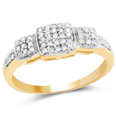 0.21 Carat Genuine White Diamond 14K Yellow Gold Plated 925 Sterling Silver Ring