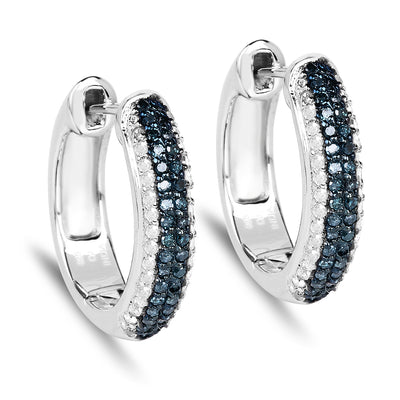 0.68 Carat Genuine Blue Diamond And White Diamond 925 Sterling Silver Huggie Small Hoop Earrings