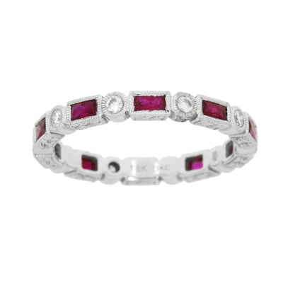 0.95 Carat Genuine Ruby Diamond Luxury 18K White Gold Band Stackable Ring
