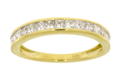 1 Carat Square Princess Cut Diamond 10K Yellow Gold Womens Stackable Semi Eternity Size 7 Ring