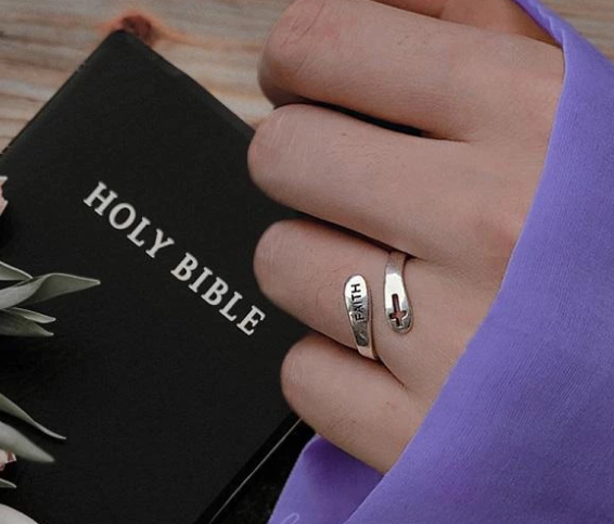 Faith & Cross Style Sterling Silver Christian Ring