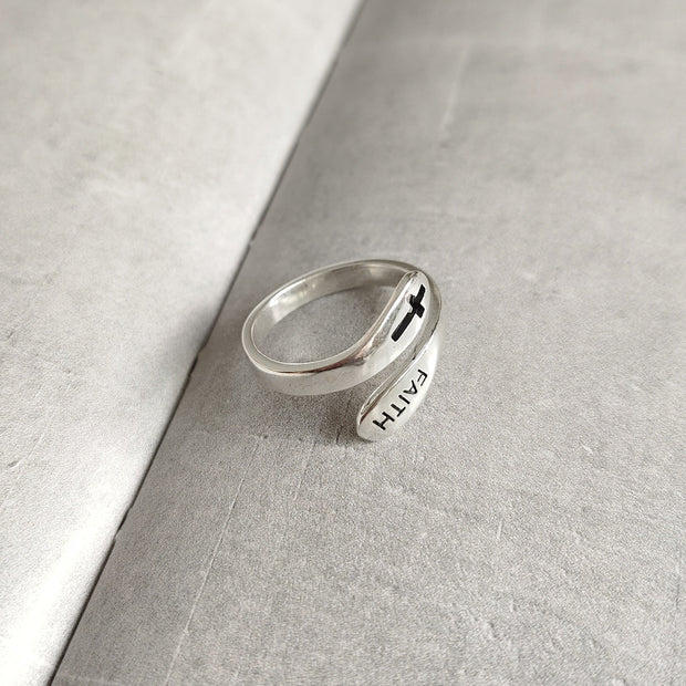 christian faith sterling silver cross ring