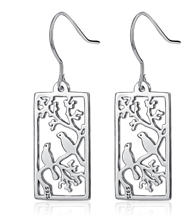925 Sterling Silver Birds On Tree Painting Earrings