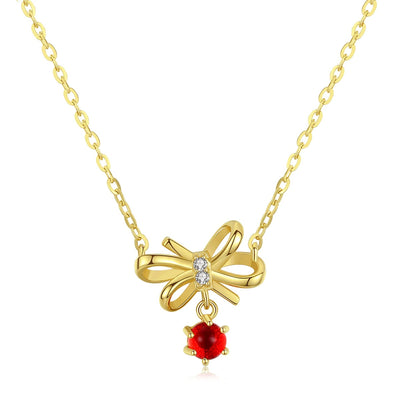 14K Gold Bow Tie And Ruby Gemstone Boutique Clavicle Necklace