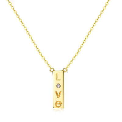 14k Gold Couple's Love Vertical Bar Minimalist Zirconia Drop Necklace