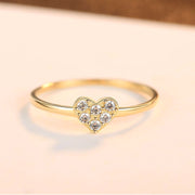 14k Yellow Gold Heart Shaped Inlaid Zirconia Thin Dainty Ring