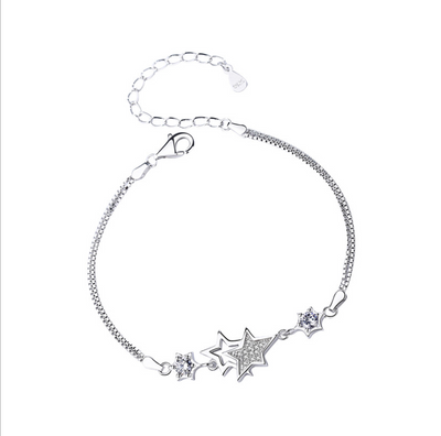 Double star 925 Sterling Silver Bracelet