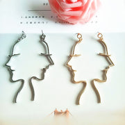 Minimalist Smiling Woman Face Fun Contour Hand Drawn Earrings