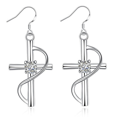 Elegant Silver Plated Crystal Cross Drop Earrings