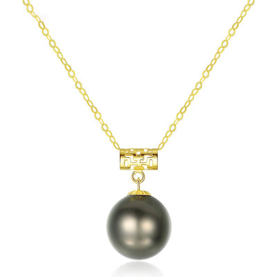 18K Gold 8-9mm Tahitian Pearl Peacock Green Women's Necklace