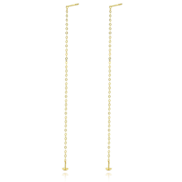 18K Gold Thin Long Linear Bar Dangle Drop Cable Link Earrings