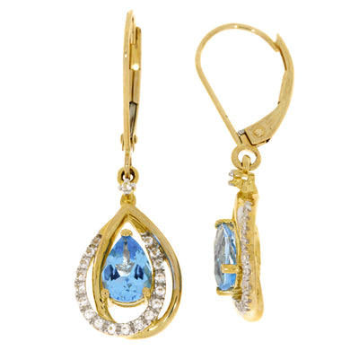 2 Carat Blue And White Topaz 10K Yellow Gold Dangle Drop Leverback Earrings