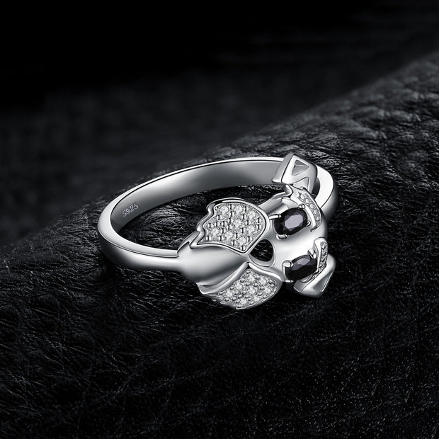 Cute Terrier Miniature Schnauzer Ring 925 Sterling Silver Puppy Dog Jewelry