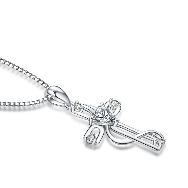 925 Sterling Silver Cross Infinity Accented Necklace