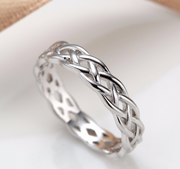 Braided Style 4mm 925 Silver Silver Ring