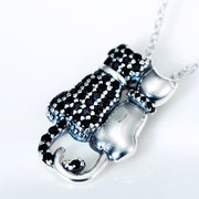 925 Sterling Silver Rhinestone Studded Kitty Cat Couple Necklace