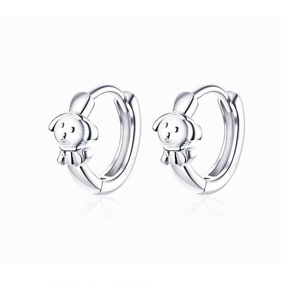 925 Sterling Silver Cute Puppy Wire Hoop Huggie Earrings