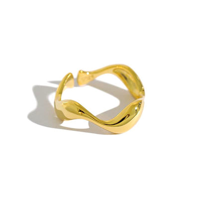 Abstract Wavy Irregular Shaped Minimalist Gold Plated Sterling Silver Ring