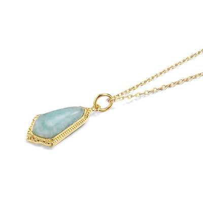 Amazonite Natural Blue Green 14k Gold Plated 925 Sterling Silver Fine Necklace