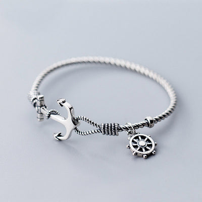 Anchor And Helm Steering Wheel Pirate Ship Sterling Silver Rope Twist Bracelet