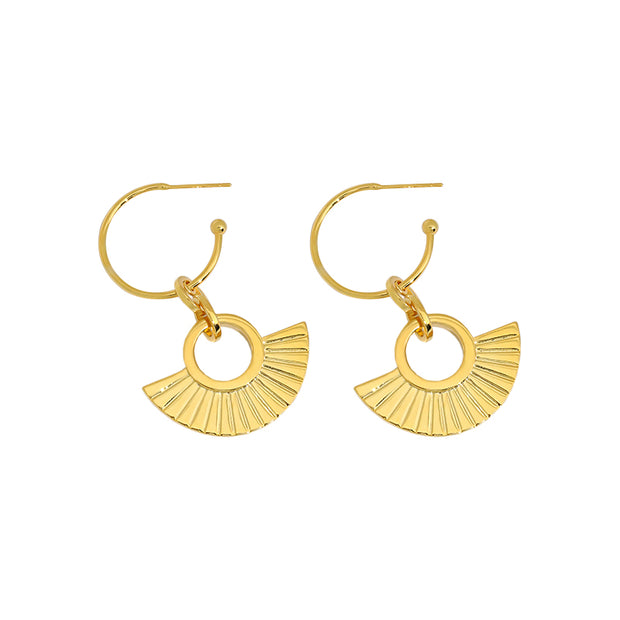 Ancient Golden Fan Shaped 18K Gold Plated Sterling Silver Dangle Drop Earring