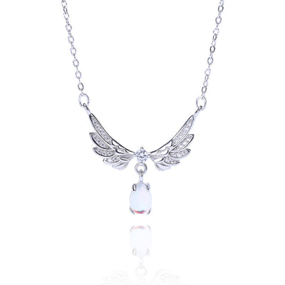 Angel Wing Moonstone 925 Sterling Silver Cubic Zirconia Necklace