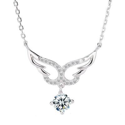 Angel Wings 925 Sterling Silver Cubic Zirconia Gemstone Necklace