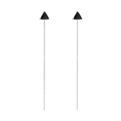 Black Triangle Dangle Hanging Bar Drop Earrings In 925 Sterling Silver